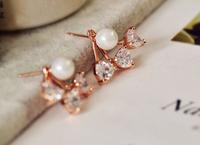 European style elegant lady temperament love crystal beads earrings natural pearl earrings E9115