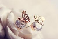 Bohemian charm lovely Austrian crystal butterfly earrings natural hollow butterfly earrings E9085