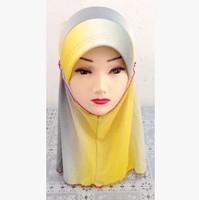 Gradient Ramp Chiffon Muslim Children Girl Princess Hijab Hat  Cap Accessory