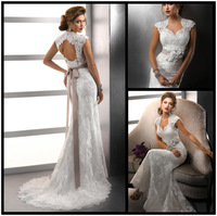 Elegance Sheath Tulle and Lace Sweetheart Sexy Backless Wedding Dresses Cap Sleeves & Removable Flower Bow Sash Gown