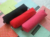 Free shipping pencial bag corduroy material with dot pen pouch closed with zipper