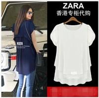 Free Shipping!2014New Fashion Brand Designer Big Size Fake two piece Medium style Women Chiffon base shirt T shirt t-shirt Tees
