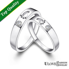 Anel 18k White Gold Plated Couple Wedding Crystal Jewlery Pair Rings Set for Men and Women with Footpint Hollow Out Ulove J013
