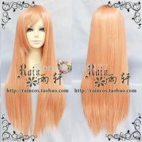 "32"" New Light Orange Long Straight Codplay Heat-Resistant Wig Medium Kanekalon Hair no lace Fiber All wigs"