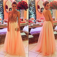 Sexy Backless Vestidos De Fiesta Scoop Neck Key Hole Front A Line Peach Chiffon Floor Length Evening Dresses 2014 Vestido Gala