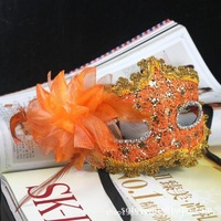 Orange Rhinestone Liles Venetian Mask Masquerade Halloween Costume