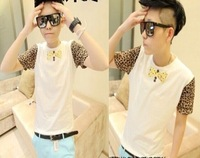 Men's T-shirts Leopard Print Short-Sleeve New 2014 Summer Students Individuality Casual O-Neck Cotton T-Shirt Bow Tie Male Tees