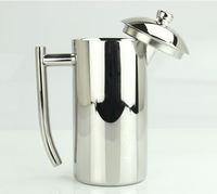 stainless steel coffee maker-650ml-double walls-French press coffee pot tea pot tea maker