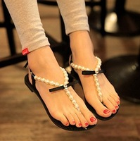 2014 rhinestone female flat heel pearl flip leather sandals flip-flop sandals female shoes Women sandals flat sandals