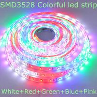DC12V Colorful (White+Red+Green+Blue+Pink 5 colors) IP65 Glue waterproof 60leds/m 5m/reel flexible SMD3528 led strip light bulb