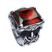 Wholesale New Fashion Men Titanium Steel Ring Retro Gothic sovereign ruby Man Ring Hot Selling Free Shipping LJR099