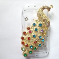 Diamond Phoenix Case for NOKIA Lumia 610 N610 10 Colors Perfect fitting Plastic Transparent Case with Rhinestone Peacock ,