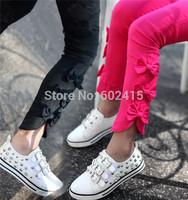 5pcs/lot 2014 New Fashion Slit Bows Stretch Baby Girls Skinnny Pants Children Pencil Pants Leggings Hot Pink Black ZT18