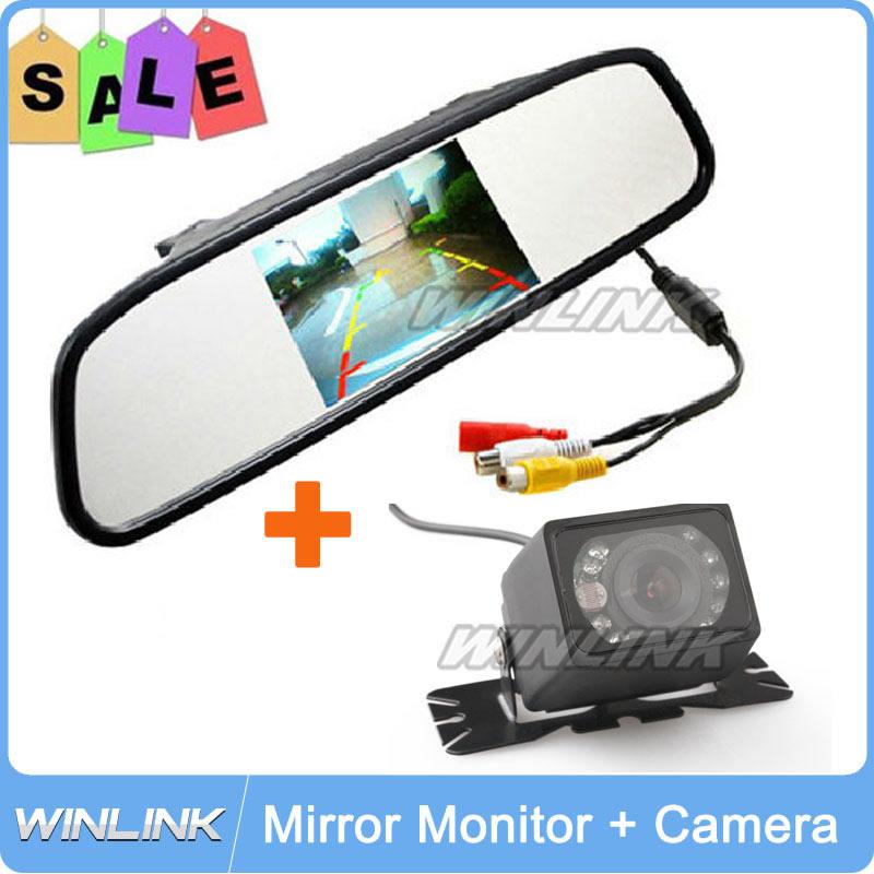 New 2 In 1 Universal Car Parking Sensor System IR Night Vision Rear View Camera + 4.3 Inch LCD Car Mirror Monitor(China (Mainland))