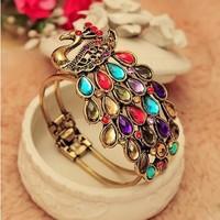 12Pcs/Lot Colorful Peacock Retro Luxury Crystal Bracelet Free Shipping