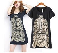 2014 fashion summer character print  rivet decoration round neck plus-size women short-sleeve long pattern T-shirt#LY452