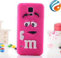 Cute Animal Shape Cover Silicone MM Chocolate Beans Phone Case for Samsung Galaxy s5 i9600 free shipping