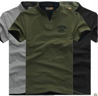 AFS Jeep Men's Short Sleeve T-Shirt 2014 New Summer  Standup Collar Cotton Tops Men Casual T-shirt Plus Size M L XL XXL XXXL