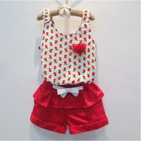Free shipping 2014 summer new fashion girl chiffon cherry flowers condole belt unlined upper garment pants suit girl dress set
