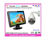 "professional 12"" 16:10 wide screen  monitor with HDMI/BNC/AV/VGA for cctv camera + DHL free shipping!"