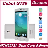 Original CUBOT GT88 5.5 inch 3G WCDMA 512MB RAM 4GB ROM MTK6572A Dual Core 1.3Ghz smart phone Russian menu/Koccis