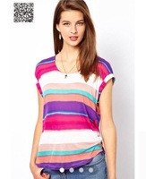 NEW Fashion T shirt 2014 European and American wind AS0S same striped cotton t-shirts with short sleeves back Bertha