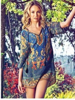 2014 fashion new hot sale summer dress Baroque postion print dress seven sleeve loose vestidos european brand dresses#C0713