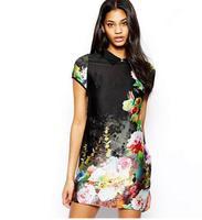 2014 fashion new arrival hot sale High Quality velvet flower cheongsam dress vintage China Style women cheongsam dress#LY447