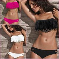 2014 Sale Swimwears Beauty Women Favor Padded Boho Fringe Top Strapless Set Sexy Swimsuit And Bottoms Swimwear 1set/lot Shipping