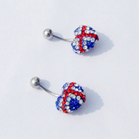 2014 New Cross National Flag Heart Navel Belly Bar Ring Body Piercing Titanium Belly Button Earrings nail Dual-purpose