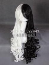 Atacado hy001654 >> > nova peruca peruca Cosplay preto e branco longo encaracolado cabelo(China (Mainland))
