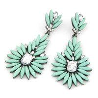 Hot Sale Fashion Vintage Silver Leaf Crystal Imitation Gemstone Brincos Dangle Earrings for Women Men Jewelry India bijoux