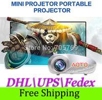 DHL\UPS\Fedex Free Shipping 200lumens LED Electric Zoom Portable Video Pico Micro Small Mini Projector HDMI USB AV VGA TV Tuner