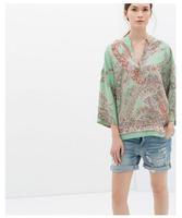 2014 fashion summer new European style Women's clothing Cashew printing Three Quarter bat sleeve  loose kimono blouses#C0778