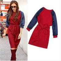 New Arrival 2014 Victoria Style Dress Women's Spring Winter Elegant Patchwork Lacing Dress