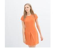 2014 fashion new arrival hot sale Summer Dress Orange Pleated Bottom Women Dress Short Sleeve Loose Casual Dress#C0670