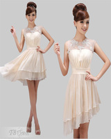 2014 Elegant Champagne chiffon cap sleeves applique A-Line Knee-Length homecoming dresses Prom Dreses Party gowns Custom Made