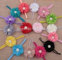 Shabby chiffon flower+rhinestone pearl sunflower shape button baby soft floral headband.Mix 20pcs girls soft jewelry headwear