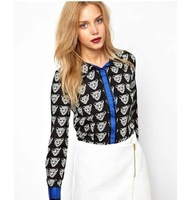 2014 fashion new Arrival Hot Sale Sexy Lovely Tiger Head Printed Long Sleeve Blouse Shirt for Women#C0682