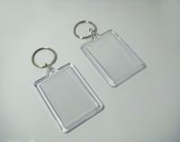 "50pcs Bigger Blank Acrylic Rectangle Photo Keychains Insert  Picture &Logo  Keyrings Key tag 2.25""x 1.65"" - Free Shipping"