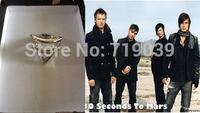 12pcs/lot wholesale Fashion Silver Charm 30 Seconds to Mars Logo Triad ring ORBIS EPSILON ring,original factory supply