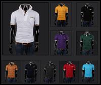 Hot Sale! 2014 Summer Men's T Shirt Plaid Collar Short Sleeve Business Leisure Slim Fashion T shirt For Men 9Color Size M-XXXL