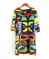 2014 fashion  New Spring & Summer Women O-Neck Multi Color Geometric / Birds Print Half Sleeve Plus Size \Short Dress Tops#C0946