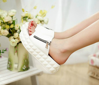 2014 New summer sandals and slippers women dragged the word muffin with side zipper sandals and slippers free shipping