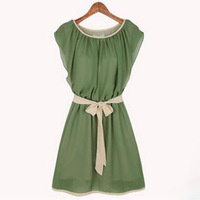 2014 new women summer dress chiffon o-neck short solid cute sashes straight cotton knee-length casual dress free shipping