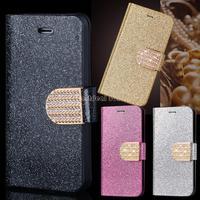 New Hot Case Cover For iPhone 5 5S 4 Colors Elegant Plated Bling-Bling Glossy Glitter Wallet Flip Case B16 SV001712