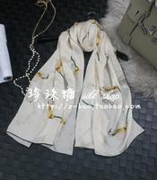 New arrival elegant calla quality silk long silk scarf exquisite handmade roll-up hem silk scarf