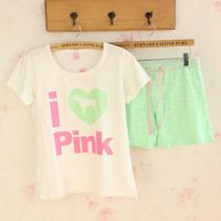 2014 summer women lady girl's casual T shirt & shot  shot pajamas set pink green blue color