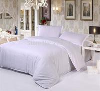 White Streak Hotel home textile bedding set queen king size 4pcs solid color comforter/duvet cover bed sheet bedclothes cotton