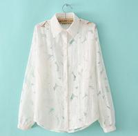 2014  fashion  Autumn New 2014 Women Vintage Cute Embroidery 3d Flower Long Sleeve Lace Blouse#C0648